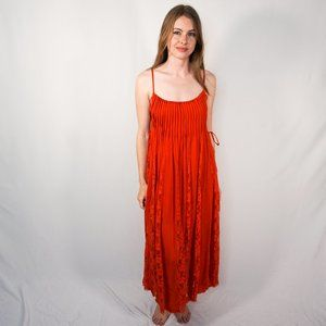 FP ONE Red Victorian Lace Maxi Dress NWOT L